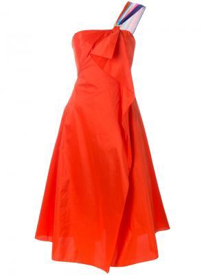 Платье корсетного кроя с драпировкой Peter Pilotto. Цвет: красный