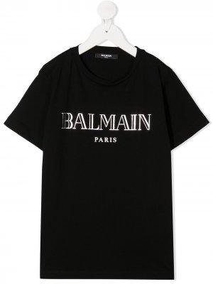 Футболка с логотипом Balmain Kids. Цвет: черный