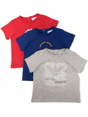 Комплект из трех футболок Emporio Armani Kids. Цвет: синий