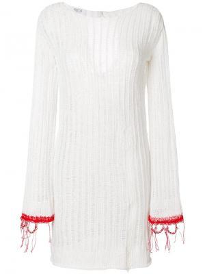 Вязаное платье с отделкой в рубчик Aviù. Цвет: белый