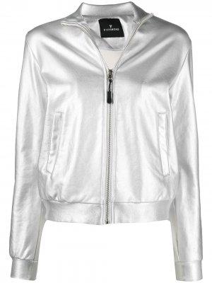 Спортивная куртка с логотипом и эффектом металлик John Richmond. Цвет: серебристый