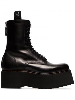 Ботинки Double Stack на шнуровке R13. Цвет: черный
