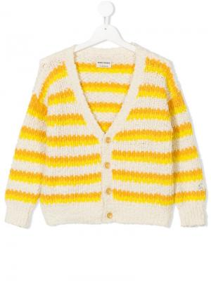 Knitted striped cardigan Bobo Choses. Цвет: желтый