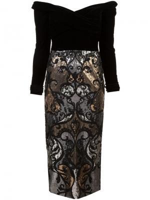 Платье с открытыми плечами и пайетками Marchesa Notte. Цвет: черный