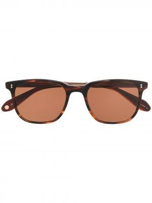 Солнцезащитные очки в квадратной оправе черепаховой расцветки Garrett Leight. Цвет: коричневый