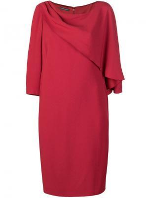 Платье-кейп средней длины Alberta Ferretti. Цвет: красный