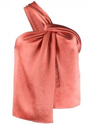Атласная блузка на одно плечо Nanushka. Цвет: оранжевый