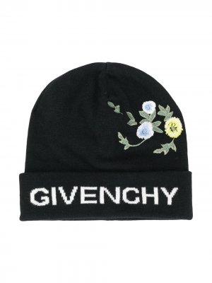 Шапка бини с вышивкой Givenchy Kids. Цвет: черный