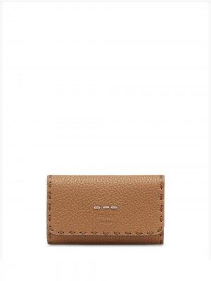Ключница с декоративной строчкой Fendi. Цвет: коричневый