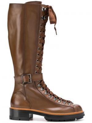Сапоги на шнуровке Santoni. Цвет: коричневый