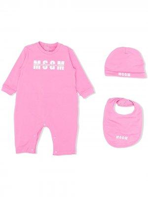 Комплект для новорожденного с логотипом MSGM Kids. Цвет: розовый