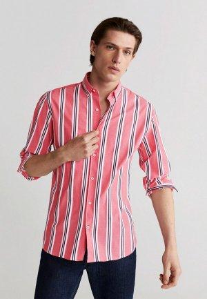 Рубашка Mango Man. Цвет: коралловый