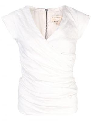 Блузка с V-образным вырезом и запахом Nicole Miller. Цвет: белый