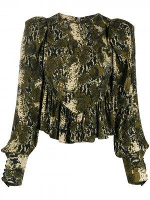Блузка со змеиным принтом ROTATE. Цвет: зеленый