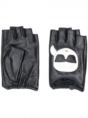 Перчатки-митенки с логотипом Karl Lagerfeld. Цвет: черный