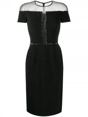 Платье строгого кроя с сетчатой вставкой Jenny Packham. Цвет: черный