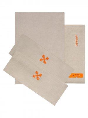 Двуспальный комплект постельного белья с вышитым логотипом Off-White. Цвет: нейтральные цвета