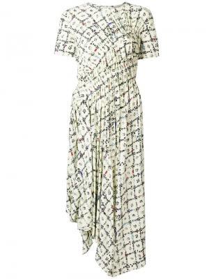 Платье Keziah с цветочным узором Preen Line. Цвет: белый