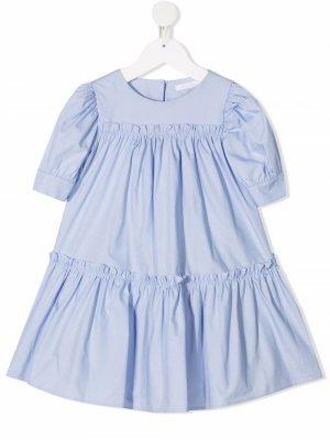 Блузка со сборками Miss Grant Kids. Цвет: синий