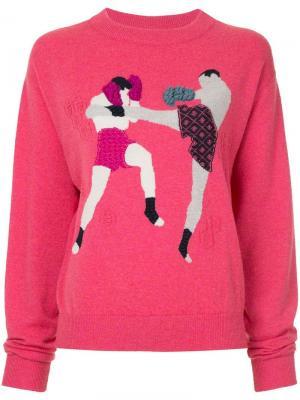 Кашемировый пуловер с круглым вырезом Chessboxing Barrie. Цвет: розовый