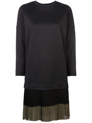 Платье с складками на подоле Akris Punto. Цвет: черный