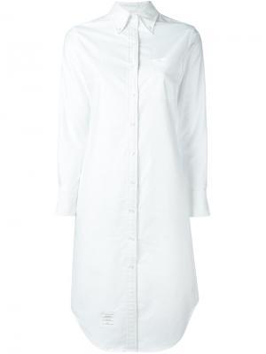 Классическое платье-рубашка Thom Browne. Цвет: белый