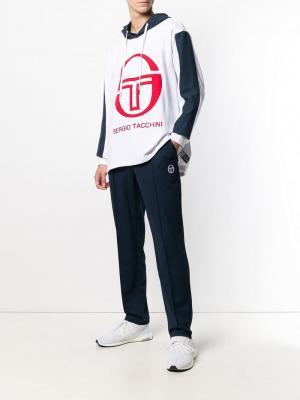 Толстовка с капюшоном и контрастным логотипом Sergio Tacchini. Цвет: белый