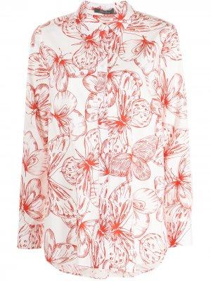Рубашка с цветочным принтом Lela Rose. Цвет: белый