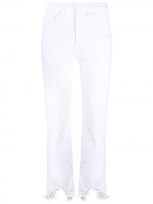 Укороченные джинсы с бахромой 3x1. Цвет: белый