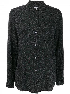 Рубашка с анималистичным принтом и длинными рукавами Equipment. Цвет: черный