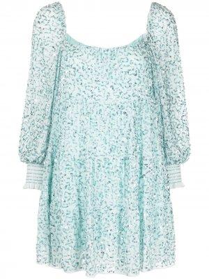 Платье мини Rowen с пайетками Alice+Olivia. Цвет: синий