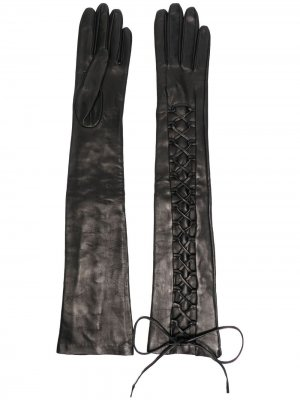 Перчатки на шнуровке Manokhi. Цвет: черный