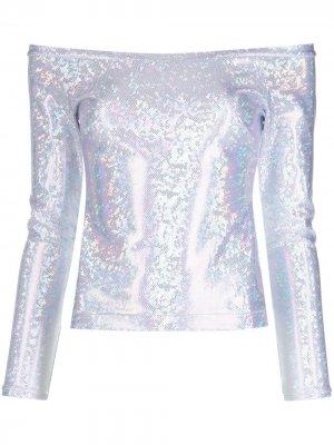 Блузка с кристаллами Saks Potts. Цвет: серебристый