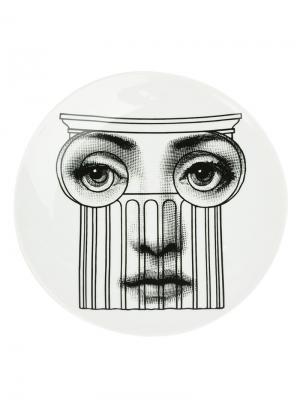 Тарелка с принтом лица Fornasetti. Цвет: черный