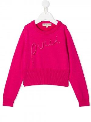 Джемпер с вышитым логотипом Emilio Pucci Junior. Цвет: розовый