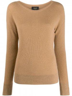 Джемпер с круглым вырезом LIU JO. Цвет: коричневый