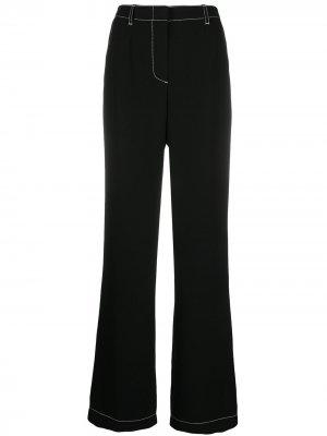 Расклешенные брюки с контрастной строчкой Escada. Цвет: черный