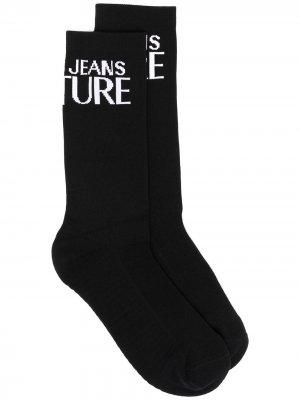 Носки с контрастным логотипом Versace Jeans Couture. Цвет: черный