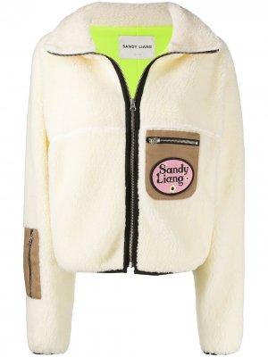 Куртка из овчины с контрастными карманами Sandy Liang. Цвет: нейтральные цвета