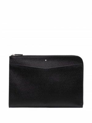 Сумка для ноутбука из зернистой кожи Montblanc. Цвет: черный