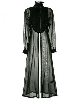 Платье с длинными рукавами и плиссировкой на груди Isabel Benenato. Цвет: черный
