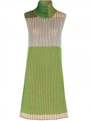 Вязаное платье мини в стиле колор-блок Eckhaus Latta. Цвет: зеленый