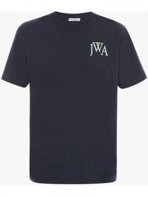 Футболка с вышитым логотипом JW Anderson. Цвет: синий