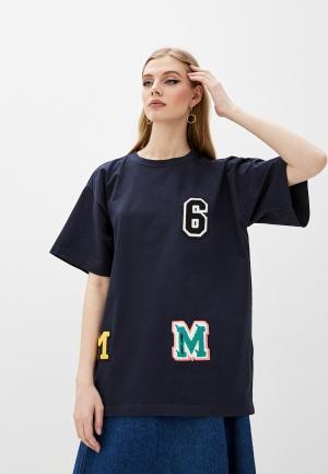 Футболка MM6 Maison Margiela. Цвет: синий
