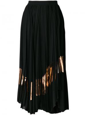 Асимметричная плиссированная юбка Proenza Schouler. Цвет: черный
