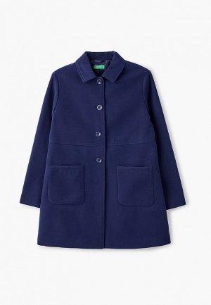 Пальто United Colors of Benetton. Цвет: синий