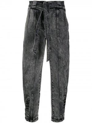 Зауженные джинсы с завязками Ulla Johnson. Цвет: серый