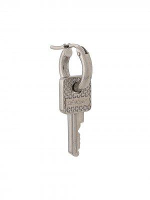 Серьга с подвеской в форме ключа Off-White. Цвет: серебристый