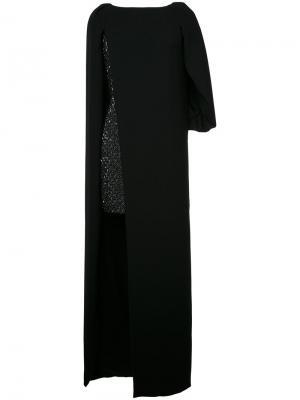 Многослойное платье Monique Lhuillier. Цвет: чёрный