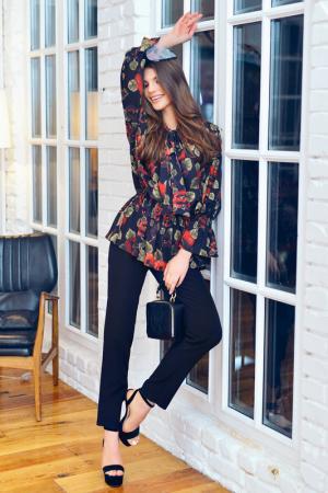 Костюм: блуза, брюки BEZKO. Цвет: черный